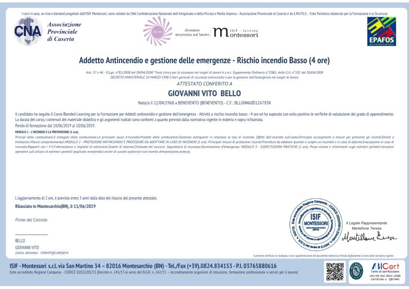 Attestato Giovanni Vito Bello Antincendio