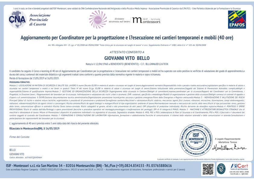 Certificato aggiornamento sicurezza Gianvito